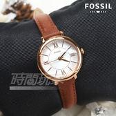 FOSSIL 美國品牌 公司貨 美麗優雅羅馬淑女錶 防水 真皮錶帶 玫瑰金x咖啡 ES4412【時間玩家】