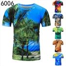 找到自己 MD 韓國 休閒 時尚 男 圓領套頭 3D印花 椰樹 鬧市 短袖T恤 圖案T 特色短T 組合款