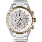 CITIZEN 星辰 光動能電波鈦金屬手錶-白x玫瑰金圈/42mm AT8156-87A