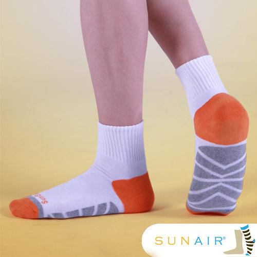 sunair 滅菌除臭襪子-慢跑襪款1/2筒L(25~29) (白+橙+淺灰)  /SA0301