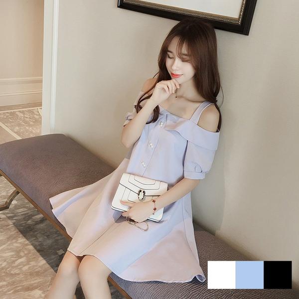 【9159-0425】韓版一字領露肩吊帶氣質甜美連身裙(附腰帶) (3色/M)