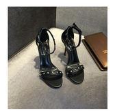 一帶涼鞋字扣高跟鞋細跟黑色裸色性感露趾細帶綁帶女鞋   igo可然精品鞋櫃