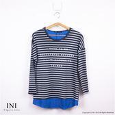 【INI】舒適漫步、簡約氣質條紋長版拼接上衣.灰色