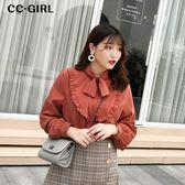 中大尺碼 氣質領綁帶襯衫上衣~共兩色 - 適XL~4L《 67042L 》CC-GIRL