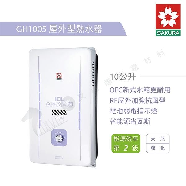 【櫻花牌SAKURA】熱水器 屋外型瓦斯熱水器 GH-1005 10L 原廠公司貨