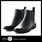 短筒雨鞋 素面切爾西鬆緊帶雨靴-黑色 mo.oh(歐美鞋款)