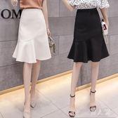 中大尺碼 a字魚尾半身裙女2018夏季新款中長時尚荷葉邊高腰包臀 df81『男人範』