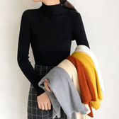 秋冬新款黑色緊身上衣半高領打底衫薄款內搭毛衣女修身長袖針織衫