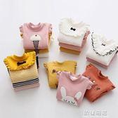 長袖T恤-寶寶條紋打底衫冬裝新款女童童裝兒童加絨加厚上衣tx-9206 依夏嚴選