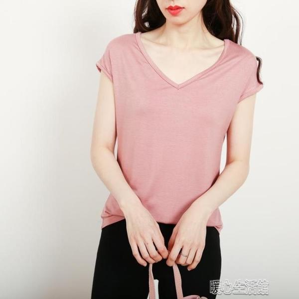 竹節棉上衣夏季小衫莫代爾無袖t恤女修身簡約薄款V領打底衫春夏新款上 快速出貨