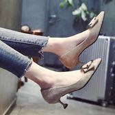 低跟鞋 尖頭單鞋女春季韓版百搭方扣貓跟女鞋高跟鞋細跟絨面鞋子 傾城小鋪