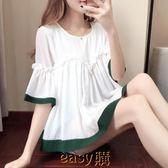 【618好康又一發】2018夏季新款韓版喇叭袖雪紡衫短袖寬松顯瘦荷葉邊蓬蓬上衣娃娃衫
