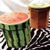 ~巨安網購~~107031207 ~ 仿真水果收納盒凳子鳳梨西瓜木頭檸檬橘子奇異果