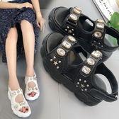 涼鞋韓版奢華風大水鑽裝飾厚底舒適涼鞋【02S11064】