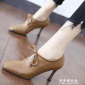 方頭女士短靴女性感v口繫帶裸靴2019春季新款韓版細跟高跟鞋單靴 果果輕時尚