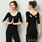 瑜珈服 黑色瑜伽服上衣美背女健身操性感夏天運動練功舞蹈瑜珈衣夏季短袖