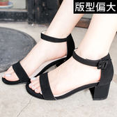 Ann'S簡約主義-一字帶繫踝魔鬼氈粗跟涼鞋-黑