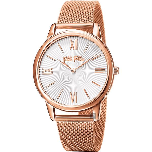 Folli Follie Match Point 羅馬米蘭帶腕錶-白X玫瑰金