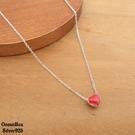 §海洋盒子§可愛紅色雙面小愛心925純銀項鍊.外鍍專櫃級正白k