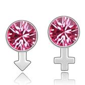 水晶耳環 925純銀(耳針式)-不對稱符號生日情人節禮物女飾品10色73bd144【時尚巴黎】