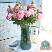 仿真花塑料裝飾假花插花藝擺設擺件牡丹玫瑰花束【福喜行】