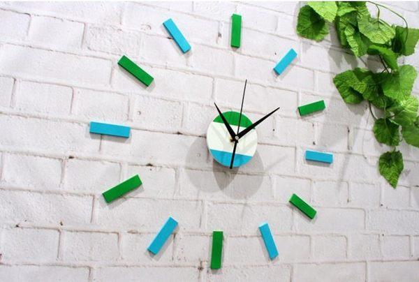 小清新文青壁貼時鐘 DIY藍綠配色立體刻度靜音掛鐘 簡約牆面設計北歐線條紋裝飾-米鹿家居