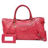 【Balenciaga 巴黎世家】282009.5765 巴黎世家經典Part-time大釦機車包(莓紅色)