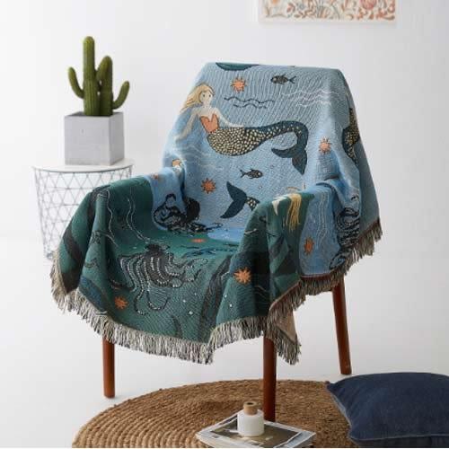 預購★原素品製美人魚沙發巾沙發布全蓋布沙發罩沙發套單雙人線毯沙發墊 (90*150cm)