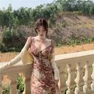 無袖洋裝 法式復古無袖吊帶抽繩連身裙春夏季新款抹胸收腰顯瘦短裙子女裝潮寶貝計畫 上新