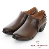 【CUMAR】極簡生活 - 簡約側邊鬆緊粗跟踝靴(咖啡色)