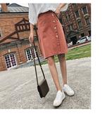 現貨 及膝裙 素色 排釦 拉鍊 包臀裙 綁帶 窄裙 M碼【NDF6527】ENTER