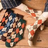 長筒襪子女中筒襪加厚保暖格子日系復古秋冬羊毛堆堆襪【愛物及屋】