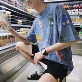 子俊夏季新款卡通貓咪印花T恤正韓短袖圓領男生tee情侶款上衣 免運直出 交換禮物