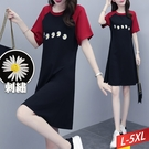 圓領撞色小洋菊連身裙 L~5XL【545020W】【現+預】-流行前線-