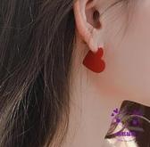 耳環 紅色愛心耳釘925銀針氣質網紅高級感復古過年耳環2019新款潮女 點點服飾
