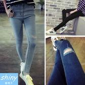 【V4322-1】shiny藍格子-瑕疵特賣.顯瘦彈力破洞高腰小腳鉛筆牛仔長褲
