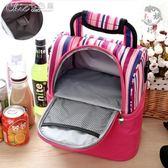 野餐袋 雙層母乳背奶包儲奶冰包手提野餐包披肩便當包保鮮冷藏保溫包「七色堇」