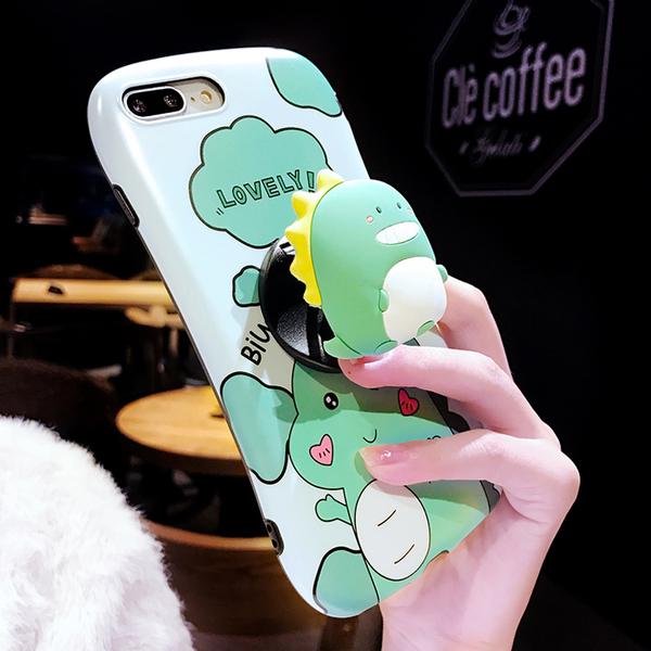 iPhone SE 2020 7 8 plus 手機殼 小蠻腰 卡通 呆萌可愛 小恐龍 矽膠套 折疊支架 軟殼 情侶 保護套 保護殼