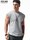 無袖t恤男士寬松純棉運動健身坎肩籃球砍袖個性夏季外穿寬肩背心 創意新品