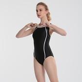 【南紡購物中心】流線黑競速連身三角泳衣 L0001(大正泳裝)