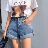 《NEW》韓系女裝 側邊鬆緊牛仔高腰短褲 2色售【C0659】韓妞穿搭必備 阿華有事嗎