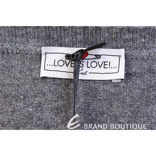 Love Sex Money-LOVE IS LOVE 灰色菱格心型圖印V領毛衣 1240409-85