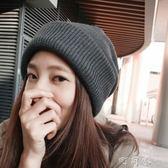 秋季簡約時尚針織帽 冬天加厚保暖帽子女冬季韓版純色百搭毛線帽 盯目家