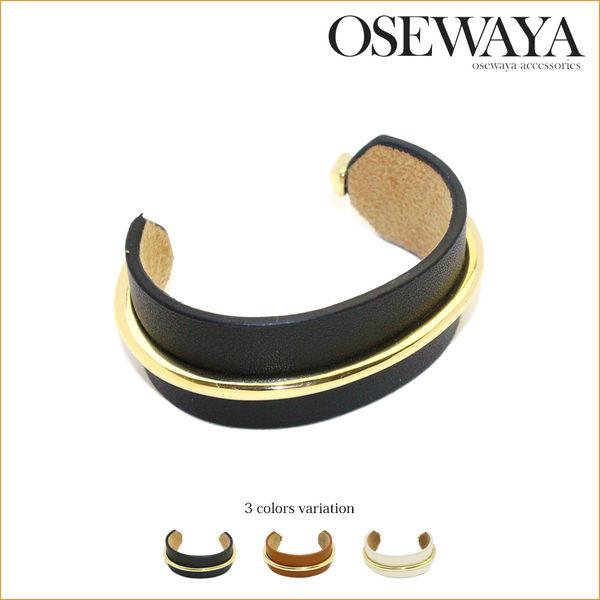 手環 日本製-半開口式金屬皮革手環【日本正版Osewayaお世話や】