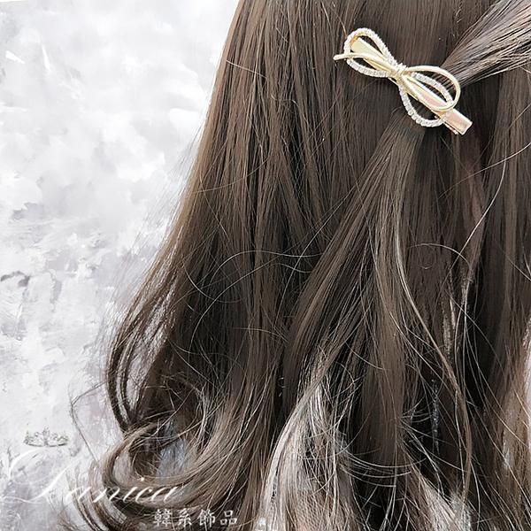 現貨 韓國美翻了氣質小香風山茶花法式蝴蝶結水鑽珍珠髮夾瀏海夾 S8260 批發價 Danica 韓系飾品