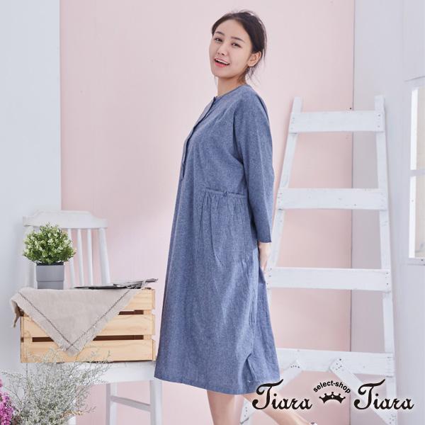 【Tiara Tiara】百貨同步aw 傘下擺大口袋寬版洋裝(藍格子/素面藍/黑格子) 漢神獨家