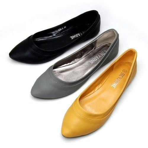 大尺碼小尺碼女鞋尖頭素面車線舒適娃娃鞋平底鞋包鞋黃色(3132-43444546)現貨#七日旅行