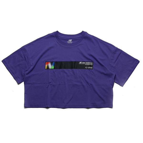 NEW BALANCE 紫 彩色 黑條紋 短版T 短袖T 女 ㄒ(布魯克林) AWT03525MVT
