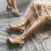 高跟鞋女細跟鞋2020秋季 新款尖頭婚鞋 法式性感氣質學生仙女少女單鞋 萬聖節狂歡價