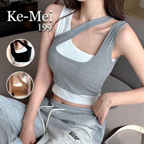 克妹Ke-Mei【AT65749】SPORTY運動甜心假二件不規則吊頸厚墊背心